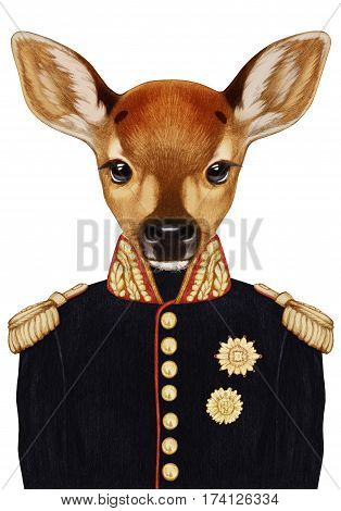 Portrait of Fawn in military uniform. Hand-drawn illustration, digitally colored.