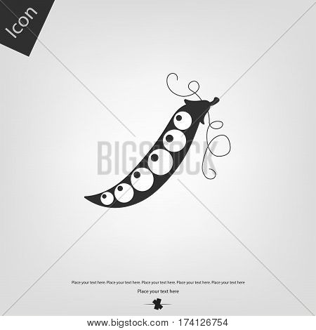 Pea icons, gray background. Vector illustration .