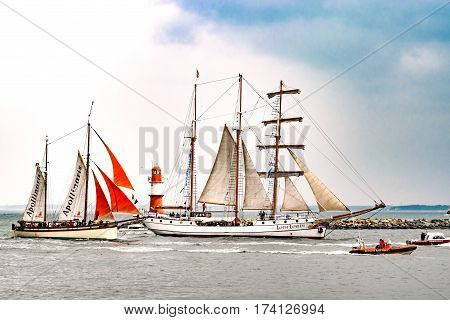 Rostock, Germany - August 2016: Sailing ships on the baltic sea. Hanse-Sail Warnemuende at port Rostock, Mecklenburg-Vorpommern, Germany. Tall Ship.Yachting and Sailing travel. Cruises and holidays