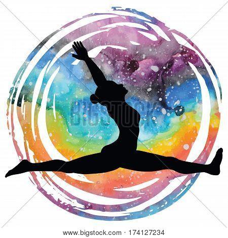 Women silhouette on galaxy astral background. Monkey yoga pose. Hanumanasana. Vector illustration.