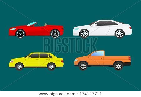 Car vehicle transport type design travel race model sign technology style and generic automobile contemporary kid toy flat vector illustration isolated icon. Luxury new wheel racing motor drive.