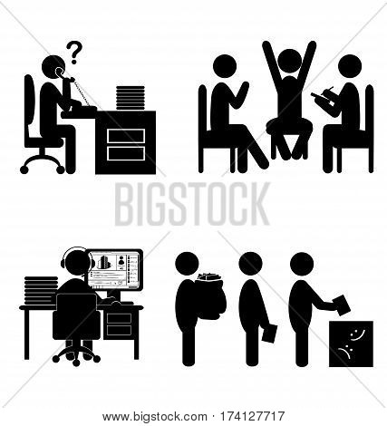 Set of flat office internal communications icons isolated on white background