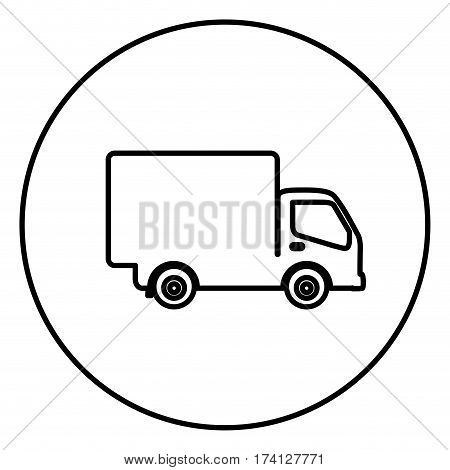 monochrome contour circular frame with truck icon vector illustration