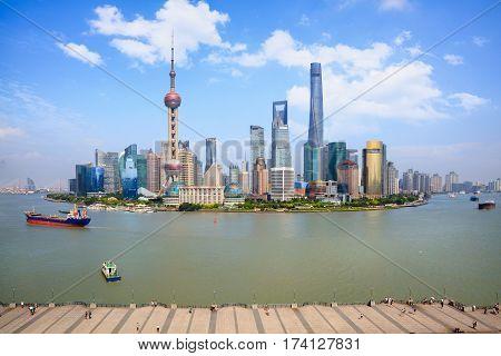 Shanghai skyline Panoramic view of shanghai skyline and huangpu river Shanghai China