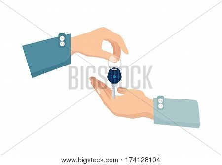 One hand giving key to another. Process of buying renting selling in cartoon style flat design. Vector illustration of two isolated arms with key. Agreement between two people about sales purchase.