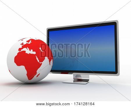 Global telecommunications concept. widescreen TV with a white case and the Earth globe isolated on white.