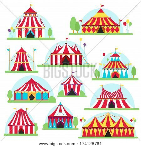 Circus tent marquee with stripes and flags carnival entertainment amusement lelements flat vector. Circus tents entertainment, amusement circus red tents. Carnival circus tents park arena celebration.