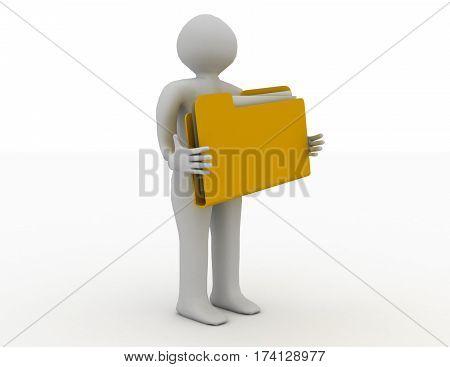 3d man with document folder. r\endered illustration