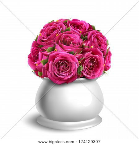 Bouquet of Roses in Flowerpot Festive Congratulation Concept Isolated on White Background