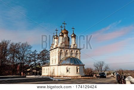 Church of the Transfiguration in Ryazan on a Sunny autumn day with blue sky and clouds.