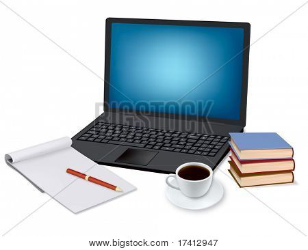 Laptop, cup of coffee and office supplies. Vector.