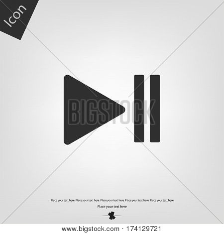 Play Pause icon, gray background. Vector illustration.