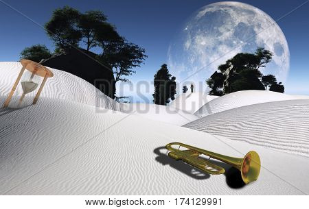 Surreal desert with hourglass, trumpet and green trees on rocks. Big moon on the horizon. Figure of man in a distance.   3D Render  Some elements provided courtesy of NASA