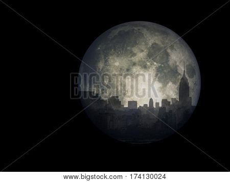 NYC Cityscape reflects in the moon.  3D Render  Some elements provided courtesy of NASA