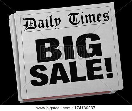 Big Sale Advertisement Clearance Event Newspaper Headline 3d Illustration