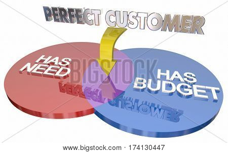 Perfect Customer Has Need Budget Venn Diagram 3d Illustration