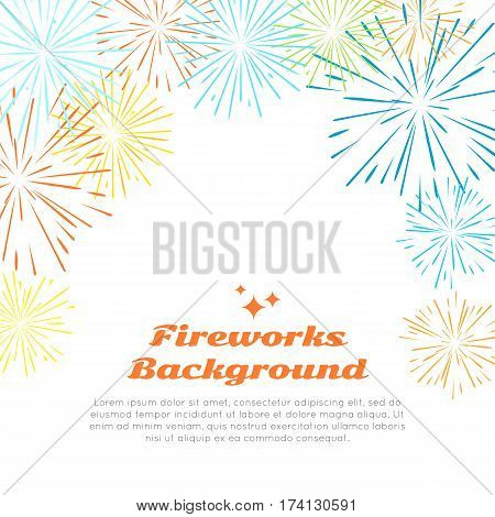Fireworks background with colorful fireworks at top on white. Happy holidays postcard with salute elements for postcard or greeting card with pyrotechnical elements. Banner poster with salute. Vector
