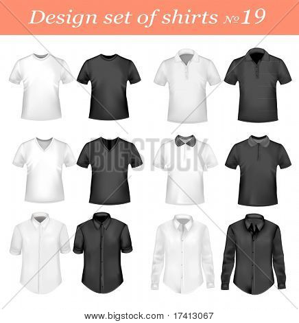 Black, and white men polo and t-shirts. Photo-realistic vector illustration