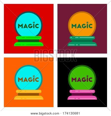assembly of flat icons halloween magic ball