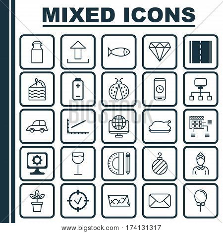Set Of 25 Universal Editable Icons. Can Be Used For Web, Mobile And App Design. Includes Elements Such As Message, Hostess, Computer Network And More.