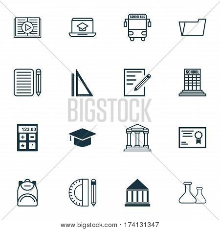 Set Of 16 Education Icons. Includes College, Paper, Haversack And Other Symbols. Beautiful Design Elements.