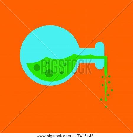 flat icon on stylish background of potion bottle