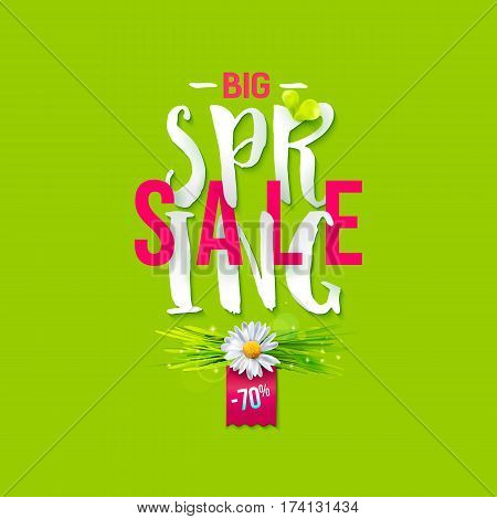 Big Spring sale label with green grass and chamomile. Promotion background. 70 persent off. May used as banner, poster, flyer. Vector illustration