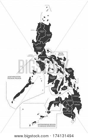 Philippines Map labelled black illustration silhouette mainland