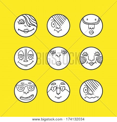 Hand drawn set of emoticons. Set of emoji. Smile icons. Vector illustration. Funny cartoon faces. Cute doodle style emoticons collection.