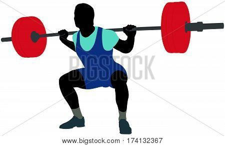 male athlete power lifter squat in power lifting colored silhouette