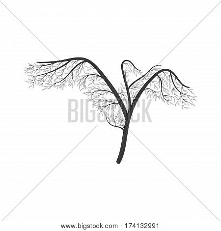 Crane with wings spread stylized bush. For use as logos on cards in printing posters invitations web design and other purposes.