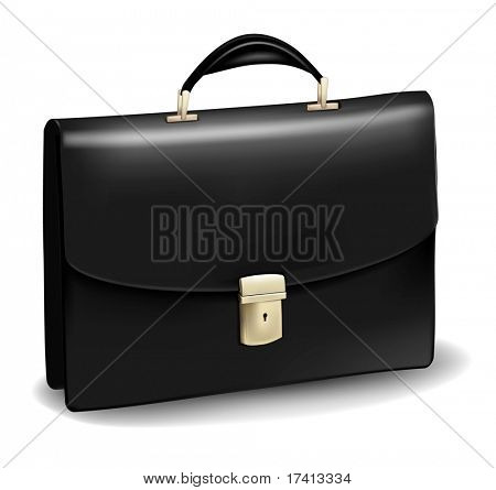 Business black briefcase. Photo-realistic vector.