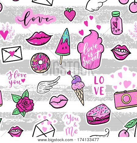 Vector Seamless Pattern With Fashion Fun Patches: Lip, Star, Strawberry, Speech Bubble On Stripe Bac