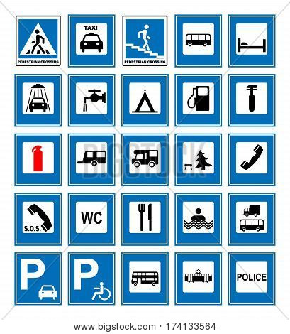 Informational road blue symbols set. Vector illustration isolated on white. Mandatory signs. Ready to use traffic banner.