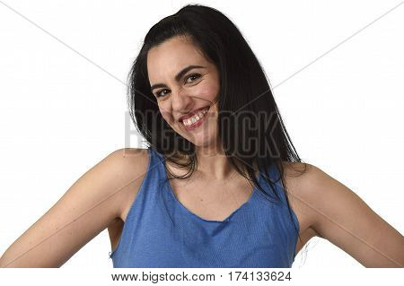 head and shoulders portrait of young beautiful hispanic woman smiling happy and relaxed isolated on white background in happiness and positive face expression