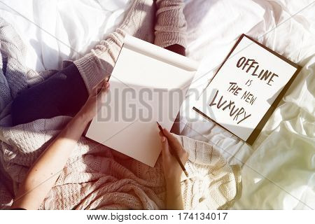 Offline in the new luxury woman writing sketch