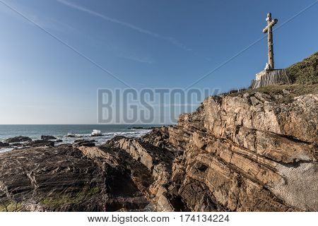 Great cross facing the sea in Les Sables d'Olonne, France