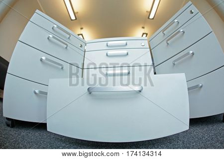 Office filing cabinets in fish eye lens