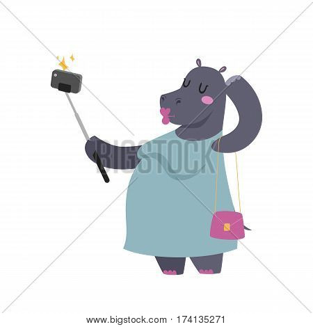Funny picture photographer mamal person take selfie stick in his hand and cute hippo animal taking a selfie together with smartphone camera vector illustration. Camera photo pet character.
