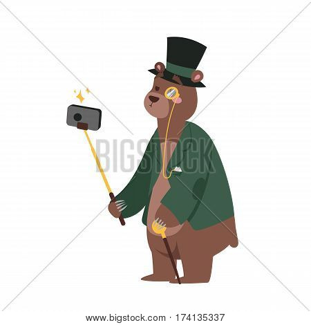 Funny picture bear photographer mamal person take selfie stick in his hand and cute animal taking a selfie together with smartphone camera vector illustration. Camera photo pet character.
