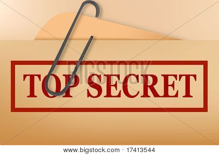 Top secret folder file with slight grunge. Vector.