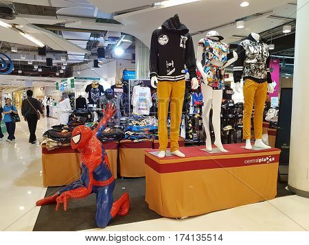 CHIANG RAI THAILAND - MARCH 1 : Department store interior view with Marvel cloth shop at Central Plaza department store on March 1 2017 in Chiang rai Thailand