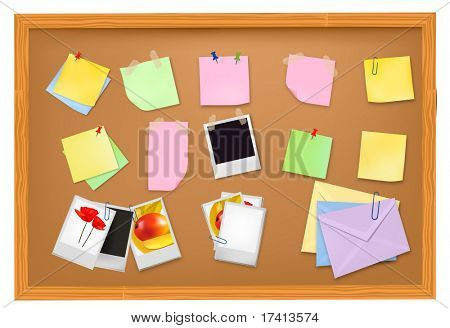 Brown blackboard with office supplies. Vector.