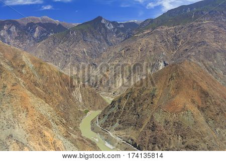 The famous first bend Omega curve of Yangtze river in Yunnan Province China.