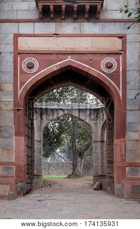 DELHI, INDIA - FEBRUARY 13: Arab ki sarai gateway, Humayun's Tomb complex, Delhi, India on February 13, 2016