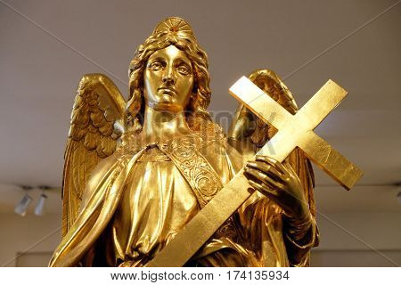 ZAGREB, CROATIA - FEBRUARY 15: Angel from Zagreb Cathedral, exhibited at the Museum of the City of Zagreb, on February 15, 2015.