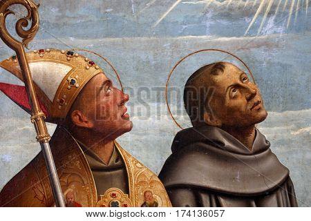 KOSLJUN, CROATIA - DECEMBER 12: Girolamo da Santa Croce: St. Francis and St. Bonaventure, Altarpiece Franciscan church in Kosljun, Croatia on December 12, 2011