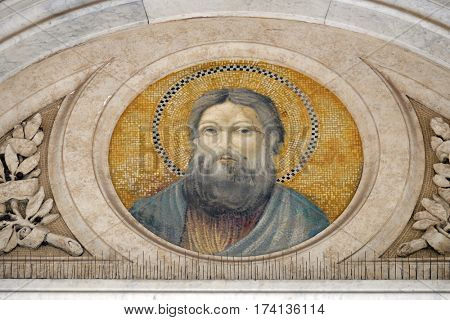 ROME, ITALY - SEPTEMBER 05: Saint Andrew the Apostle, mosaic in the basilica of Saint Paul Outside the Walls, Rome, Italy on September 05, 2016.