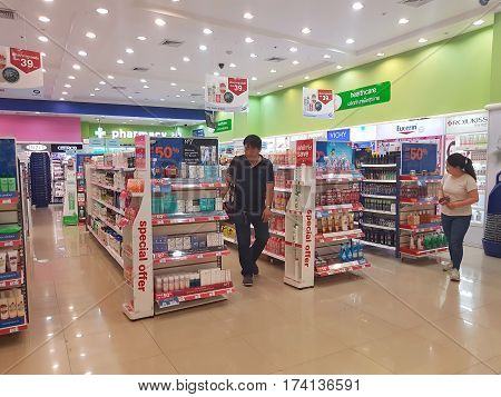 CHIANG RAI THAILAND - MARCH 1 : Department store interior view with cosmetics shop at Central Plaza department store on March 1 2017 in Chiang rai Thailand