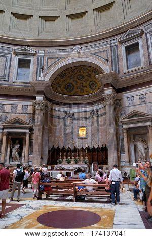 ROME, ITALY - SEPTEMBER 01: Interior of Pantheon, Piazza della Rotonda, Historic Center, Rome, Italy on September 01, 2016.